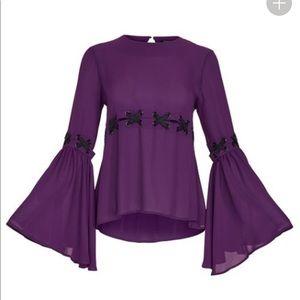 NWT Venus purple blouse top black lace up sz med